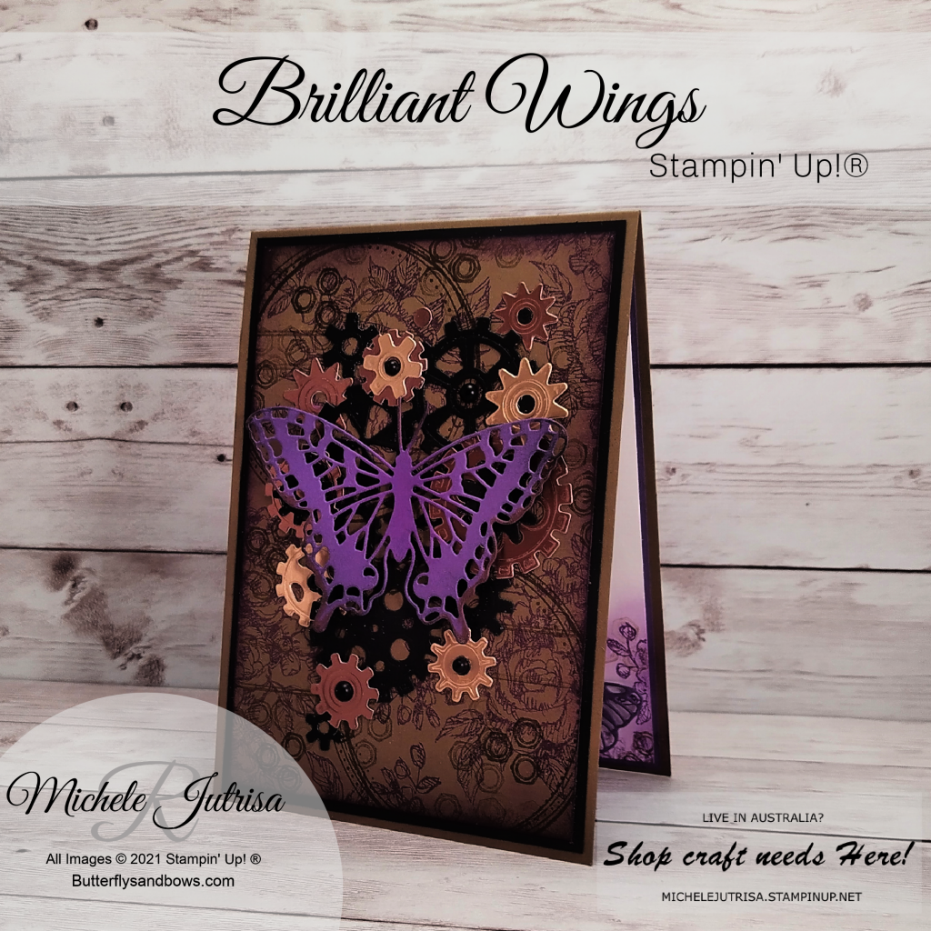 Stampin' Up! Products including Brilliant Wings Dies, Garage Gears Dies, Geared Up Garage Stamps, Swirly Frames stamps, Fancy Phrases stamps.