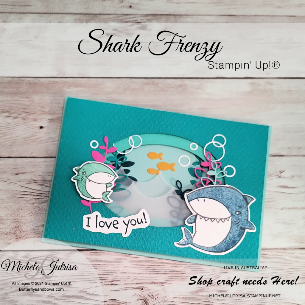 Shark Frenzy by Stampin' Up!, this is a tunnel card using the Layering Ovals to make the tunnel.