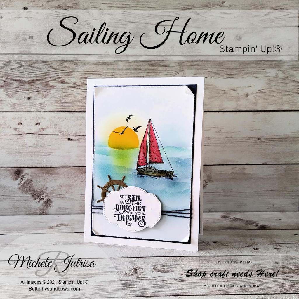 Sailing Home by Stampin' Up! Coloured using Blending Brushes and masking