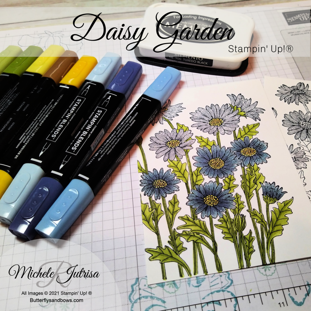 Stampin' Up! Daisy Garden coloured with a range of Stampin' Blends