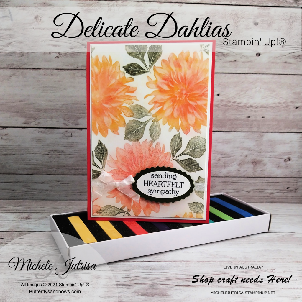 Delicate Dahlias by Stampin' Up!. Stamped in VersaMark and coloured with the Stampin' Up! Soft Pastels Assortment